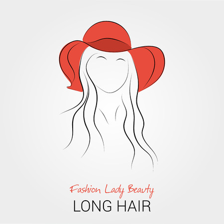 Vector handdrawing illustration of woman silhouette in red broad-brim and with long hair. For company logo or your design Illustration