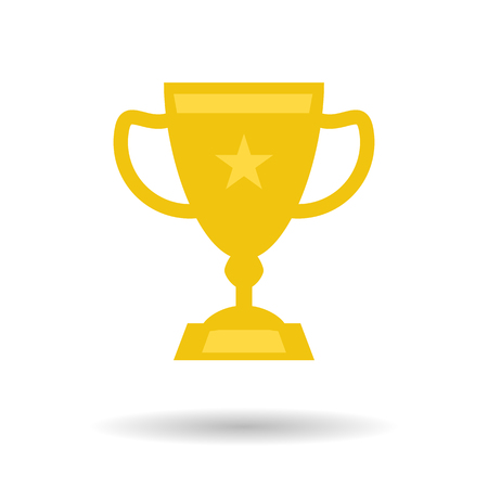 Vector isolated flat trophy cup icon. Concept for success or achievements