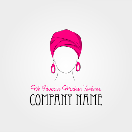turban: Vector isolated illustration. Art drawing. Arabic woman in a pink turban. Use for company identity, logotype