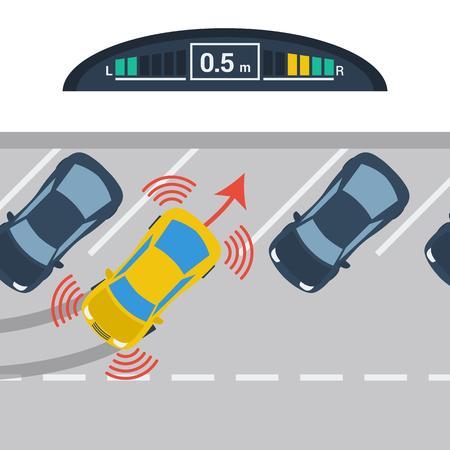 Ilustración del vector del esquema de coches diagonales de estacionamiento con sistema Parktronic en estilo plano