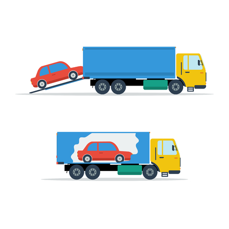 the wrecker: Small avto loading into truck Illustration