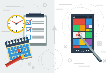 planning: Time planning with app and paper Illustration