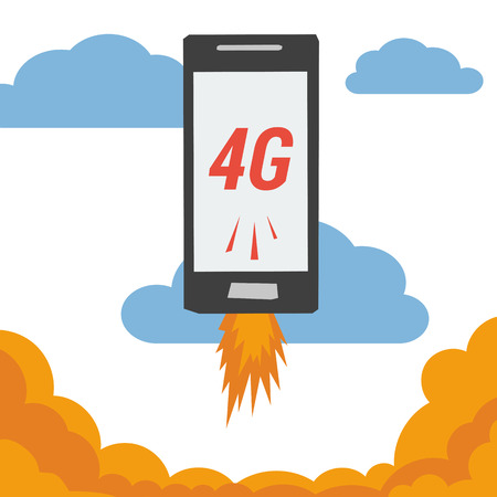 3g: Mobile with 4G internet flying in clouds Illustration