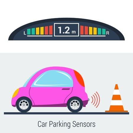 Vector flat illustration of parktronic concept. Small pink smart car parking backwards with bumper sensor to control the distance to object. New technologies for drivers