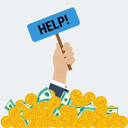 money pile: Vector concept big money. Businessman hand with help sign from money pile. Too mach wealth more problems. Financial success