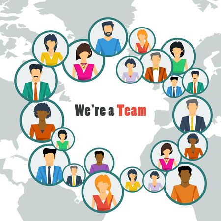 Vector concept world teamwork, social network. Group of many various men and women working or communicate together successfully in flat style