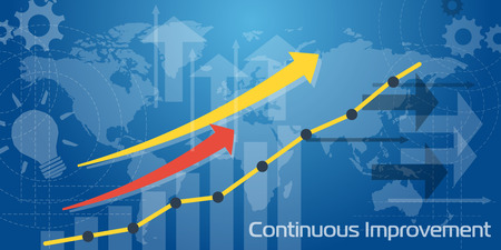 Vector business background. Long Banner Continuous Improvement with white and blue transparent elements, arrows, charts and world map, graph earnings growth going up. Flat infographic