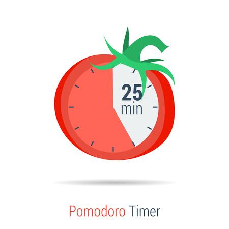 벡터 개념 시간 관리입니다. 평면 스타일로 화이트 절연 효과적인 유통 작업을위한 Pomodoro 타이머 평면 아이콘