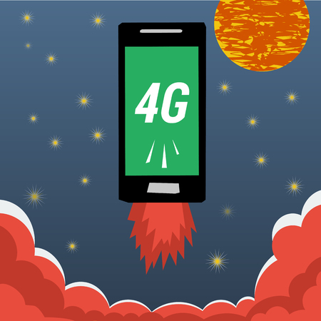 4g: Mobile with 4G internet flying in night sky