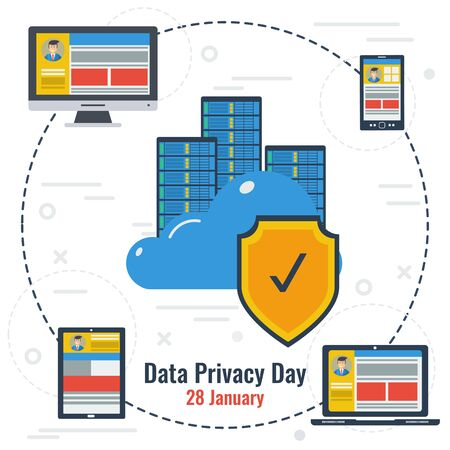 protected database: Concept of Data Privacy Day and Secure Storage Illustration