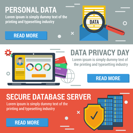 protected database: Three horizontal banners Data Privacy Day Illustration