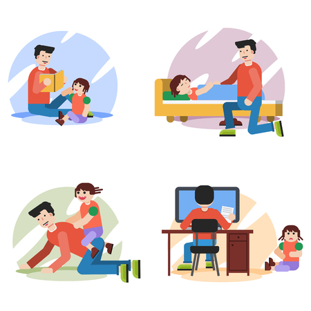 family: Four vector flat illustrations of family situation. Father spends time during the day with daughter at home - reading, playing, bedding at home. Suitable design for animation Illustration