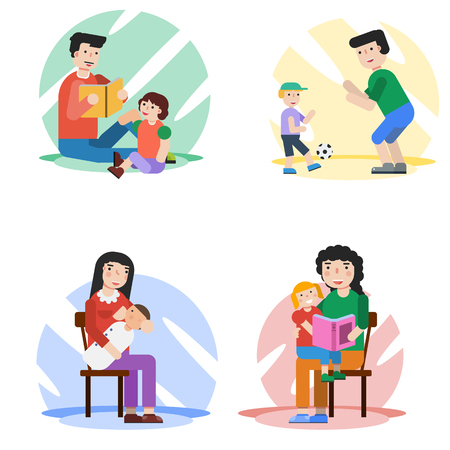 Four vector concept of parents spend time with their children. Mother breastfeeding baby. Children on a parents lap listen a book reading. Father and son playing ball. Suitable design for animation