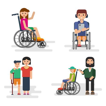 niños discapacitados: Vector situaciones cuatro familias - padres con niños con discapacidad en estilo plano aislado en blanco. Diseño adecuado para la animación