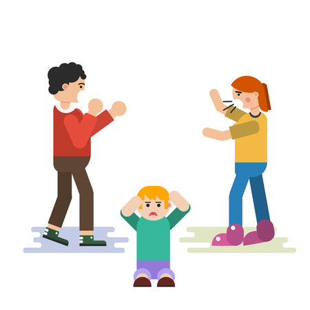 Vector flat family situation concept - the child suffers when parents quarrel. Screaming parents and boy sitting on floor in depression. Suitable design for animation