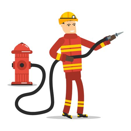 borne fontaine: Vector flat character - firefighter with a hose and hydrant Illustration