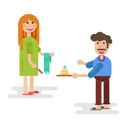 Vector flat character - Husband and wife wife at morning with a hairbrush towel and a cup of coffee.