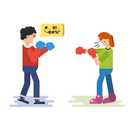 family discussion: Vector flat isolated illustration of husband and wife who quarreling. Both fight in boxing gloves saying thoughtless words