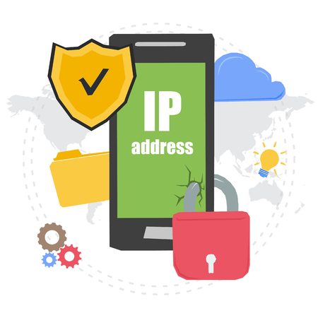 Vector concept of IP address. Banner for web infographic or techology innovation. Mobile with secure shield and padlock on web elements