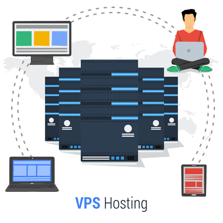 private cloud: Vector concept of Virtual Private Server - VPS - and online cloud storage and easy access to personal data with various devices. Web administrator
