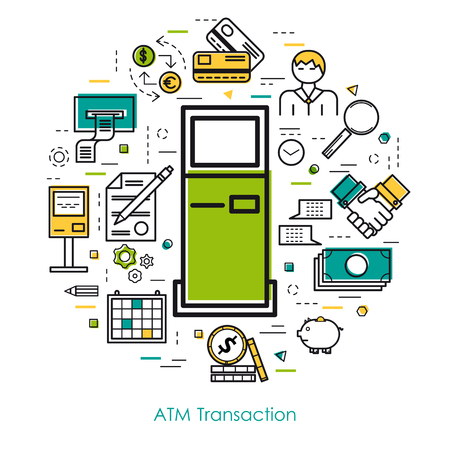 internet terminal: Vector thin line concept of atm transaction on white isolated background in modern art style. Green, blue and yellow colors. Money and coin, atm terminal and banking equipment Illustration