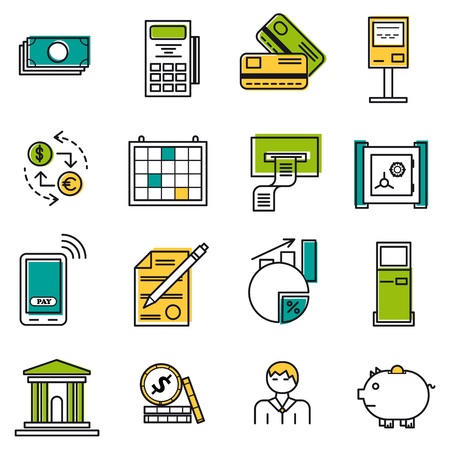 internet terminal: Vector set 22 colored financial icons on white isolated background. Accountant, money and coin, atm terminal and banking equipment in thin lines