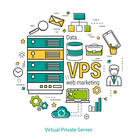 private cloud: Vector thin line art concept of Virtual Private Server - VPS - and online cloud storage