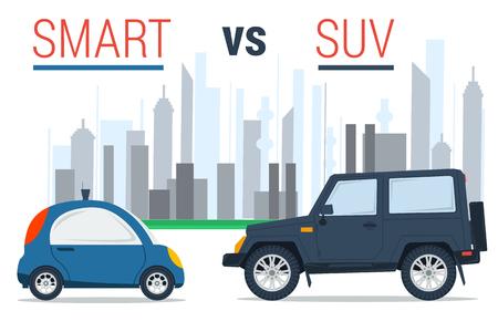 두 자동차 - 플랫 스타일에서 도시 배경에 작은 스마트 하 고 큰 SUV의 벡터 일러스트 레이 션. 드라이브 비교