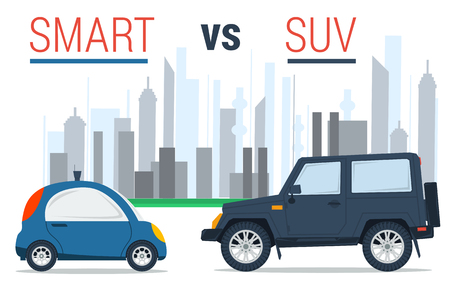 conveniently: Vector illustration of two cars - small smart and huge SUV on city background in flat style. Drive comparison