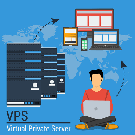 Vector concept internet FTP server and online cloud storage and easy access to personal data with various devices. Web infographic or square banner in flat style Illustration