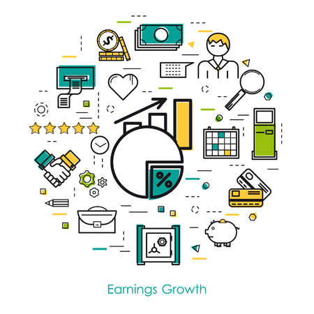 time account: Vector round concept of earnings growth or financial statistic in thin line art style. Chart with arrow up, businessman, devices and finance icons. Modern round web banner
