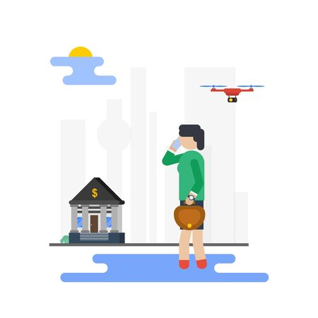 Vector business woman walking to work, talking at mobile. Drone in the city sky. Illustration in flat style