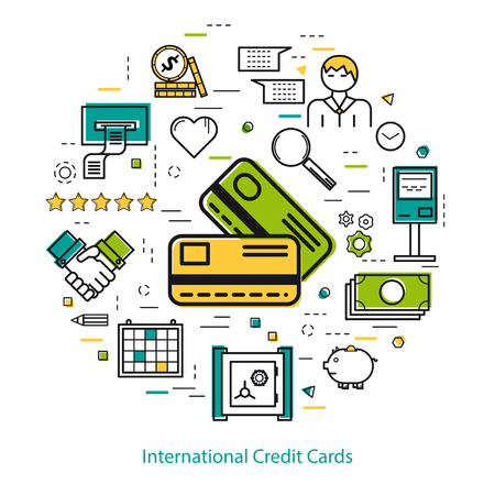 finance department: Vector round concept of International Credit Cards or easy payment in thin line style. Two credit cards, businessman, device and finance icons. Modern round web banner Illustration