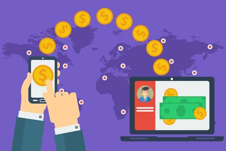 sending: Vector concept of easy worldwide money transfer. Sending yellow coins from smart phone in businessman hands to personal account on computer. Illustration in flat style on purple background