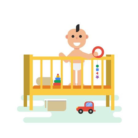 babygirl: Vector flat baby in crib with toys. Isolated illustration.