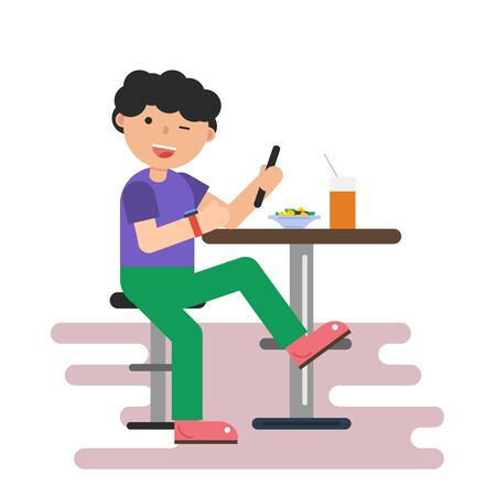 asian man laptop: Vector flat isolated illustration of boy in cafe with mobile phone and food on the table. Isolated illustration in flat style