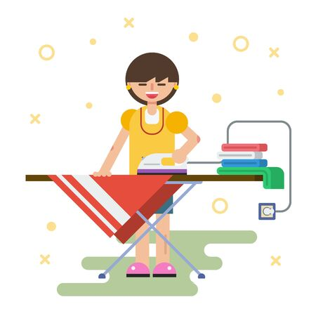 Vector flat character - happy woman irons clothes at home Illustration