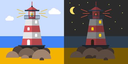 Flat lighthouse on the coast Illustration