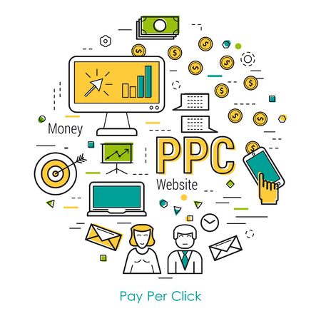 Round colored concept of pay per click