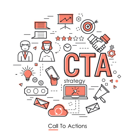 best ad: Vector Call To Actions Strategy Round Concept in Thin Line Art Style.