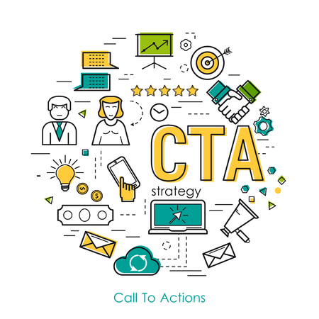 Vector Call To Actions Strategy Round Concept in Thin Line Art Style. Letters CTA and set of business icons - megaphone, businessman, scheme, settings and growth graph Illustration
