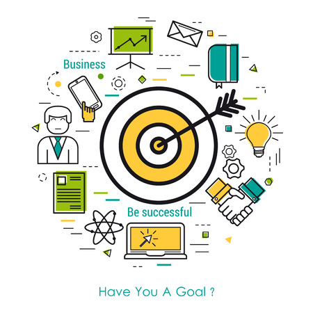 smart goals: Vector concept of Value of goals Round Concept in Thin Line Art Style. Target with arrow and business icons - document, computer, mobile and man user