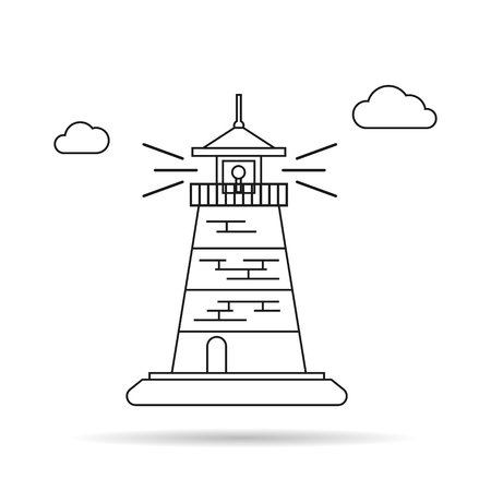 Vector Thin Line Icon of lighthouse. Isolated illustration
