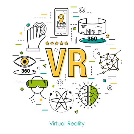 가상 현실 엔터테인먼트 또는 Ennovation 기술 얇은 선 스타일의 벡터 라운드 개념. VR 문자 및 기타 아이콘. 현대 라운드 웹 배너 일러스트