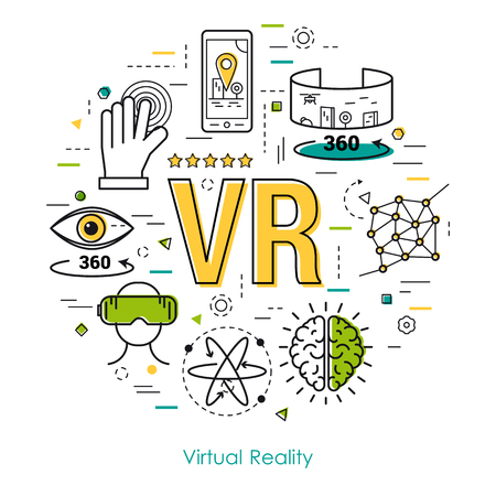 Vector round concept of Virtual Reality Entertainment or Ennovation Technology in thin line style. VR letters and other icons. Modern round web banner