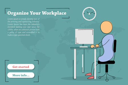 Vector template of concept - Organize Your Workplace. Hand drawing illustration of sitting man work at desktop with computer and clock on the wall in office. Modern thin line art horizontal banner Illustration