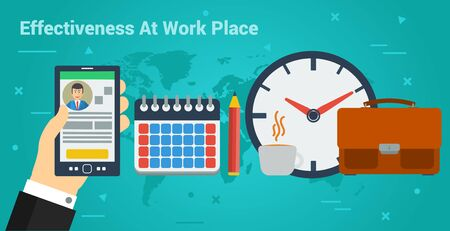 Vector horizontal banner of effectiveness at work. Hand with smart phone, calendar with pencil, case and clock in flat style on green-blue