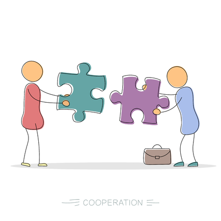 Vector hand drawing illustration of cooperation between two businessmen holding two colored puzzle pieces. Modern thin line art concept with pastel colors on white background