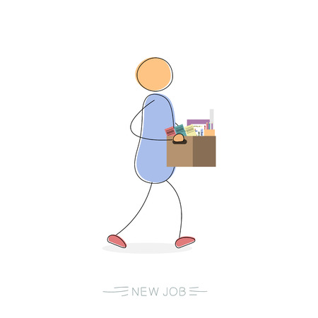 Hand drawing illustration of walking businessman with a box of personal belongings. Illustration
