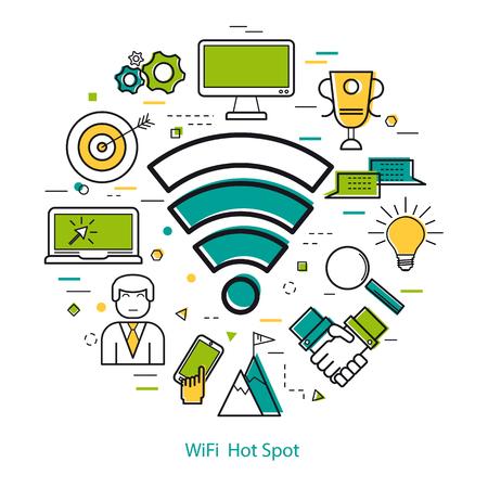Wifi Hot Spot - Line Art Concept